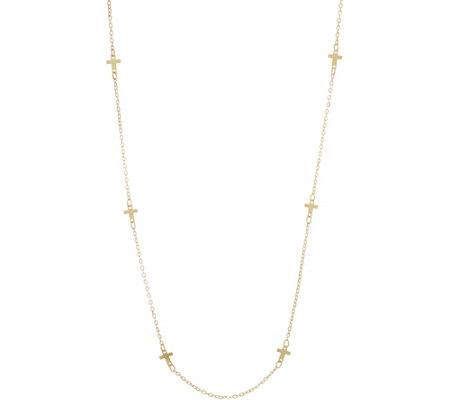 "Italian Gold 24"" Cross Station Necklace, 14K Gold 2.0g"
