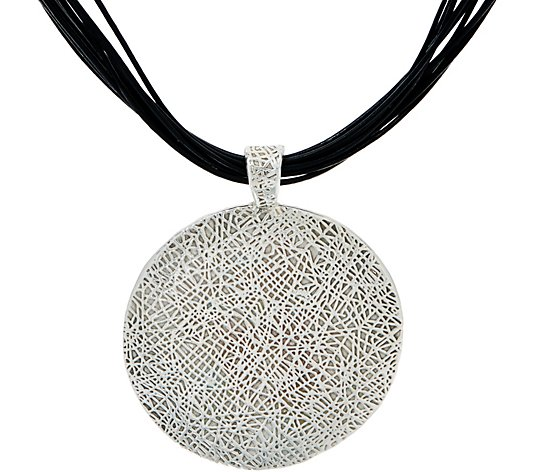 Or Paz Sterling Bold Circle Pendant w/ Multi-cords Necklace