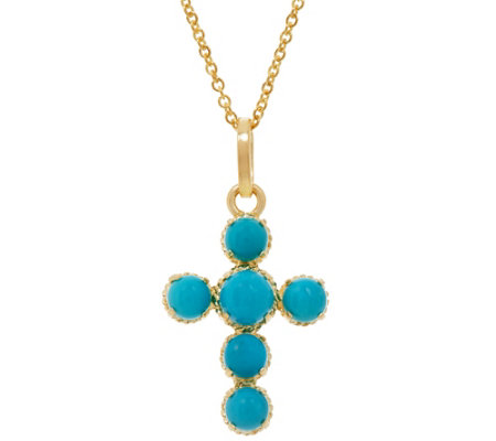 """As Is"" Italian Gold Gemstone Cross Pendant with 18"" Chain 14K Gold, 2.0g"