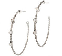 ALOR Cable Stainless Steel & Diamond Hoop Earrings - J352268