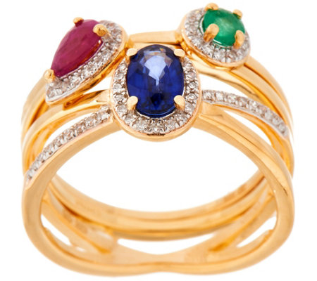 Emerald, Sapphire and Ruby Stack Rings, Sterling Silver