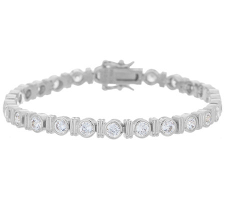 Diamonique Round Bezel Set Tennis Bracelet Sterling or 14K Gold Clad