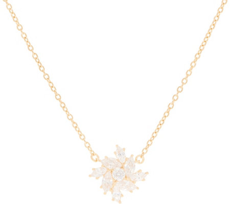 Diamonique Floral Marquise Necklace, Sterling or 14K Gold Plated