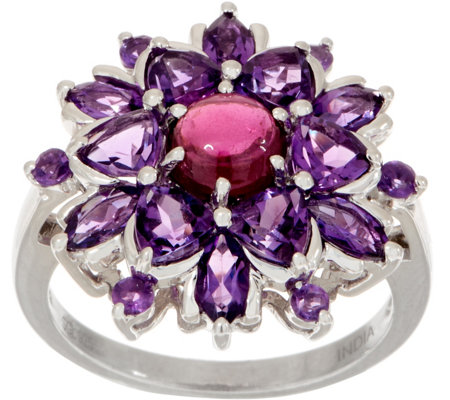 Gemstone Flower Sterling Silver Ring
