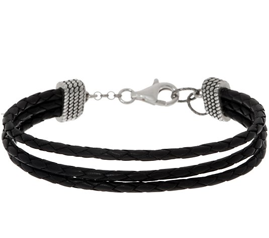 American West Three Row Braided Leather Sterling Silver Bracelet