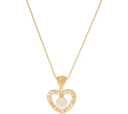 Italian Gold Cultured Pearl Heart Pendant W Chain 14k Gold