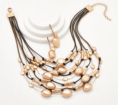 Linea by Louis Dell 'Olio Bead and Black Cord Necklace Set