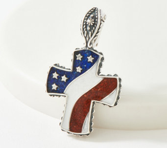 American West Gemstone Patriotic Sterling Silver Enhancer - J364868