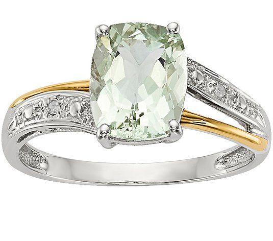 2.50Ct Green Amethyst Oval Cut Diamond Engagement Ring 14K White Gold Finish New