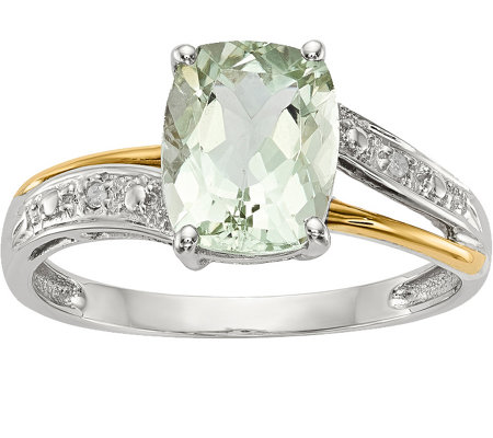 Sterling & 14K 2.50 ct Green Quartz & Diamon dAccent Ring