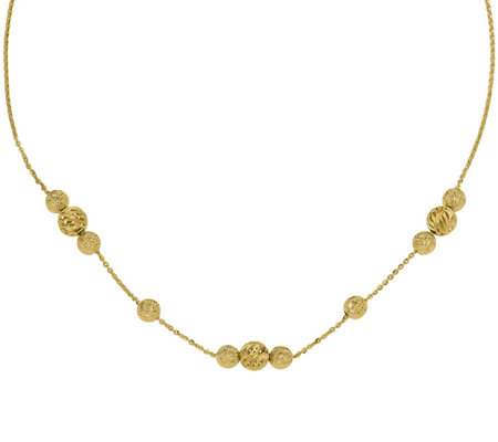 14K Textured Three-Bead Station Adjustable Necklace, 5.1g