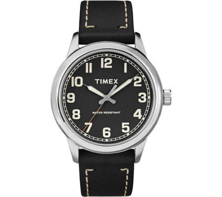 Timex Men's New England Black Leather Strap Watch