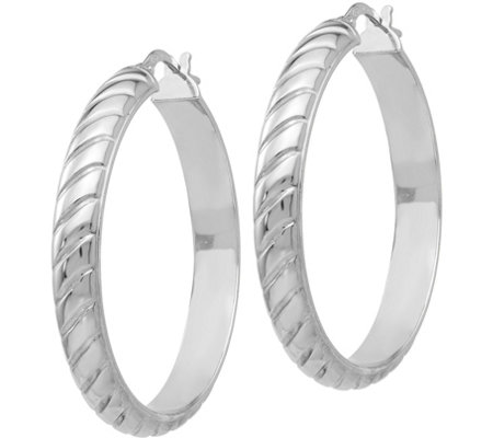 "Italian Silver Textured Hoop 1-3/8"" Earrings, Sterling"