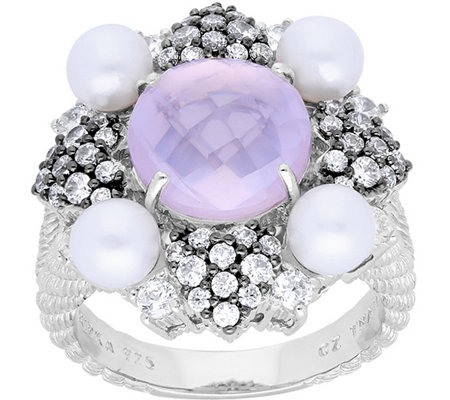 Judith Ripka Sterling Rose Quartz & FreshwaterPearl Ring