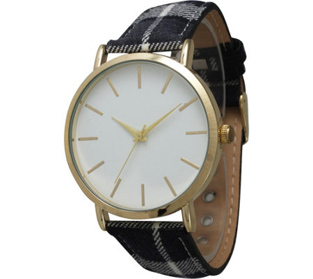 Olivia Pratt Women's Plaid Leather Watch