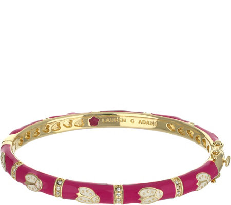 Lauren G Adams Goldtone Enamel Bangle with Ladybug Design