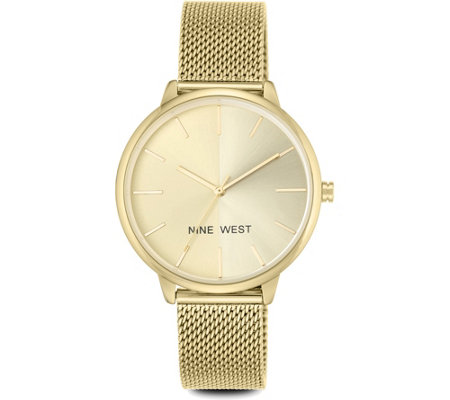 Nine West Ladies Goldtone Laynien Mesh BraceletWatch