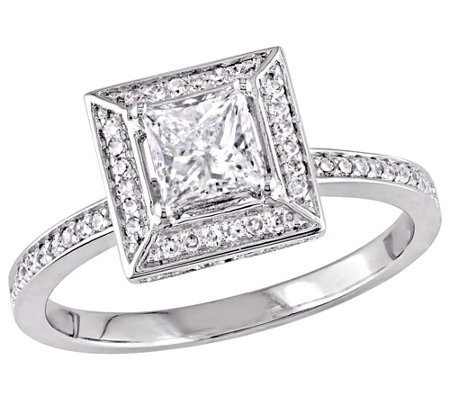 Affinity 14K Gold 7/10 cttw Princess-Cut Diamond Halo Ring