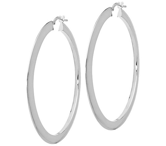 14kt White Gold Flat//Round Wire Earrings