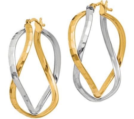 Italian Gold Two-Tone Cross Over Hoop Earrings,14K