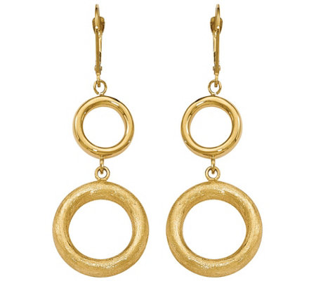 Italian Gold Circle Dangle Leverback Earrings 14K, 6.7g