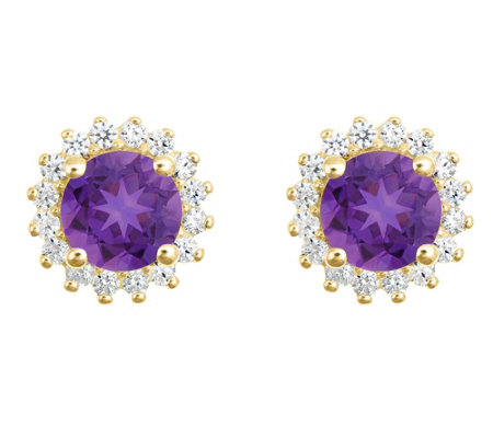 14K Gold Round Gemstone Halo Stud Earrings