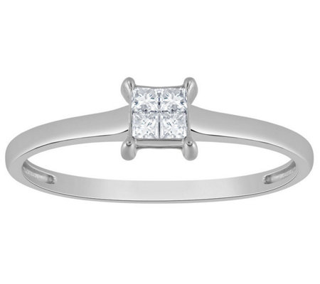 Affinity 14K Gold 1/10 cttw Square Invisible Set Diamond Ring