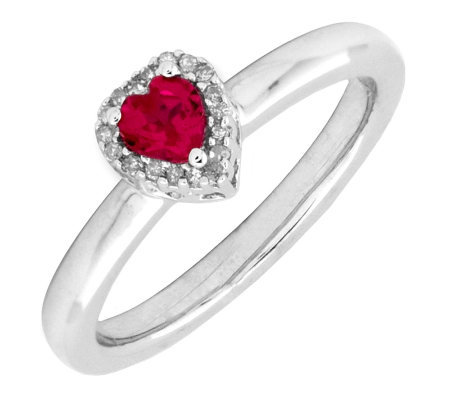 Simply Stacks Sterling Created Ruby & Diamond Heart Ring