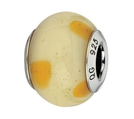 Prerogatives Cream with Orange Dots Italian Murano Glass Bead