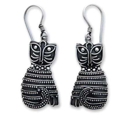 "Novica Artisan-Crafted Sterling ""Indonesian Cat"" Earrings"