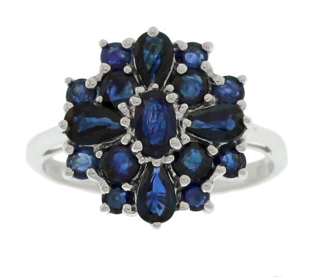 Sterling 1.65 ct tw Sapphire Cluster Ring
