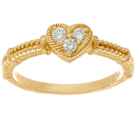 Judith Ripka 14K Gold 1/6 cttw Diamond Heart Ring