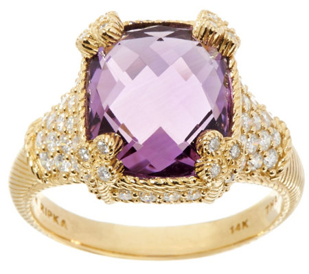 Judith Ripka 14K Gemstone & 7/10 cttw Diamond Monaco Ring
