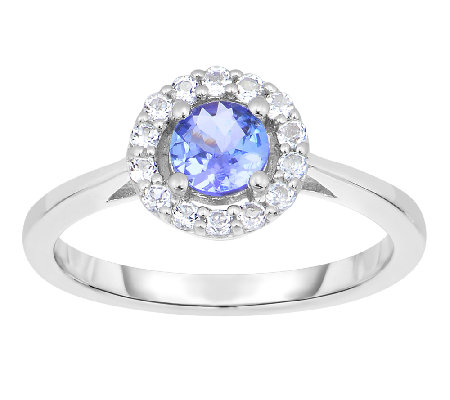 3/4 cttw Tanzanite & White Topaz Halo Ring, Sterling