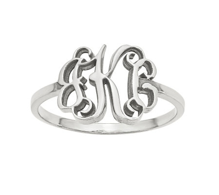 Polished Monogram Cut-Out Ring, 14K