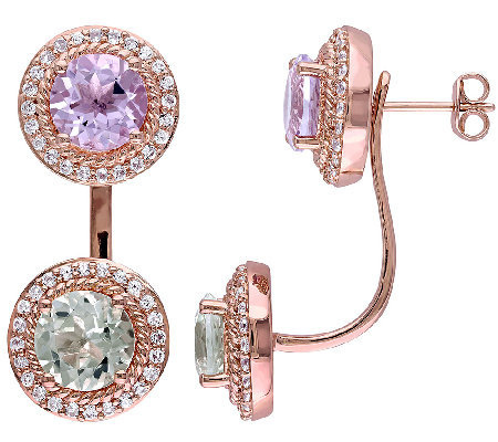 7.50cttw Multi-Gemstone Earring Jackets, 14K Rose Plated