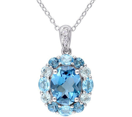 Sterling 5.25 cttw Blue and White Topaz Pendantwith Chain
