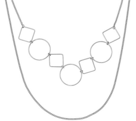 "Sterling Double Strand Circle Square 20"" Necklace"
