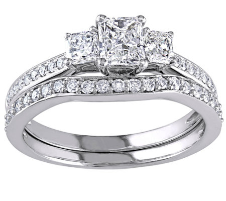 Radiant Cut & Round Diamond Set, 14K, 1.20 cttw, by Affinity