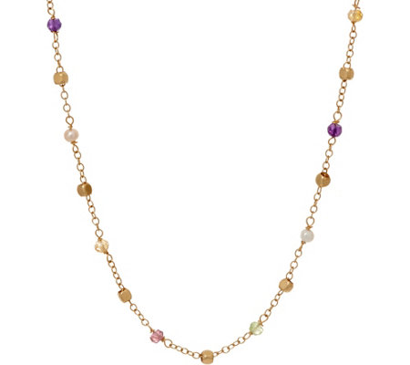 "Italian Gold 16"" Multi-Bead Gemstone Necklace 14K Gold, 2.4g"