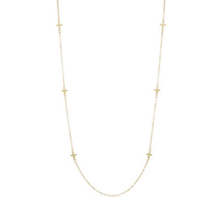 "Italian Gold 36"" Cross Station Necklace, 14K Gold 2.8g"