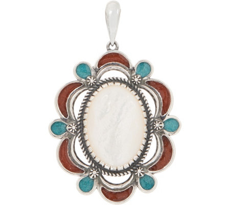 American West Sterling Silver Mother of Pearl & Turquoise Inlay Enhancer