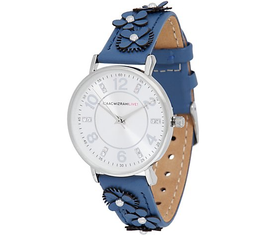 Isaac Mizrahi Live! Floral Applique Leather Strap Watch