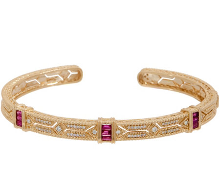 Judith Ripka 14k Gold Gemstone Diamond Estate Cuff