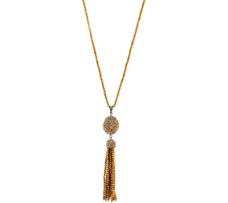 "Joan Rivers 34"" Shimmering Pave' Tassel Necklace with 3"" Extender"