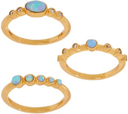 Melinda Maria Simulated Gemstone Set of 3 Stack Rings- Heidi