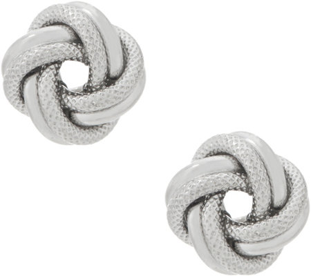 Italian Silver Polished & Textured Love Knot Stud Earrings