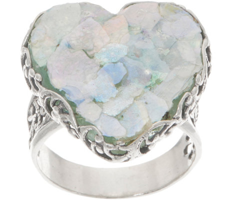 Or Paz Sterling Silver Roman Glass Heart Ring