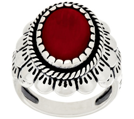 """As Is"" American West Oval Coral Scallop Design Sterling Ring"
