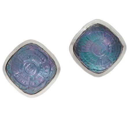 Stephen Dweck Sterling Silver Carved Mother of Pearl Stud Earrings